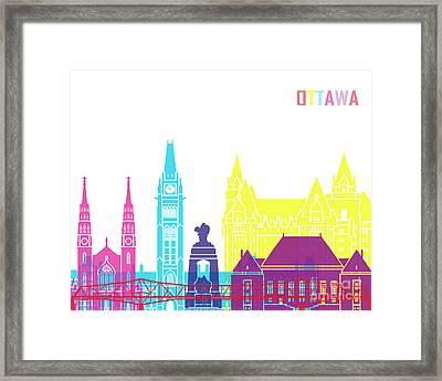 Ottawa V2 Skyline Pop Framed Print by Pablo Romero