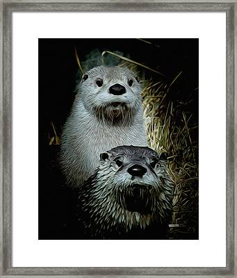Otter Family Portrait Framed Print by Ernie Echols