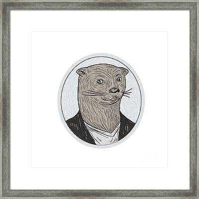 Otter Head Blazer Shirt Oval Drawing Framed Print by Aloysius Patrimonio