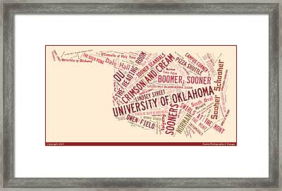 Ou Word Art University Of Oklahoma Framed Print by Roberta Peake