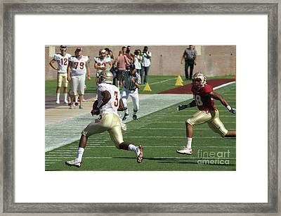 Ouarterback Run Framed Print by Allen Simmons