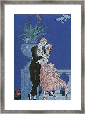 Oui Framed Print by Georges Barbier