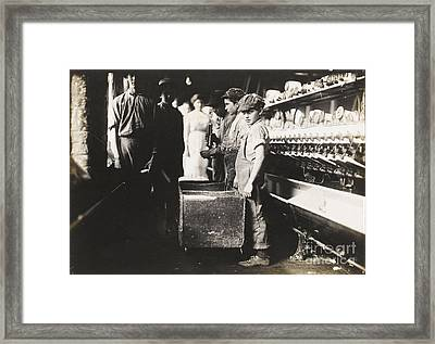 oung Doffers in the Elk Cotton Mills, Fayetteville, Framed Print