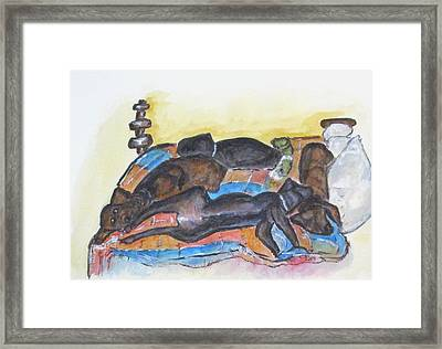 Our Bed Now Framed Print by Clyde J Kell