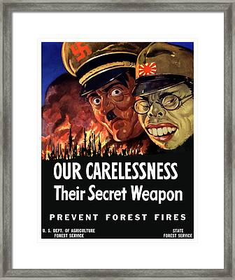 Our Carelessness - Their Secret Weapon Framed Print by War Is Hell Store