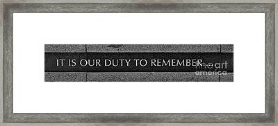 Our Duty Framed Print by Rick  Monyahan