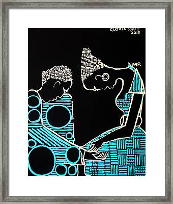 Our Lady Meets St Joseph For The First Time In The Temple Framed Print by Gloria Ssali