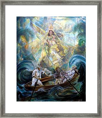 Our Lady Of Charity - Virgen De La Caridad Del Cobre Framed Print by Iris Leyva Acosta
