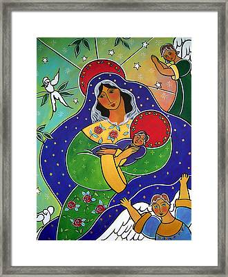 Framed Print featuring the painting Our Lady Of Compassion by Jan Oliver-Schultz