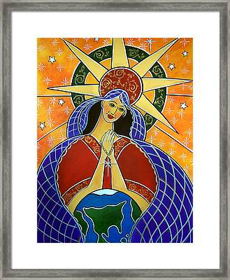 Framed Print featuring the painting Our Lady Of Mercy by Jan Oliver-Schultz