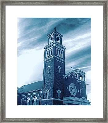 Our Lady Of Sorrows Under Wispy Skies Framed Print