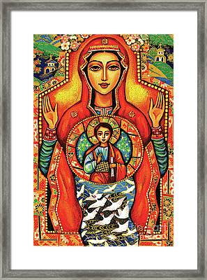 Framed Print featuring the painting Our Lady Of The Sign by Eva Campbell