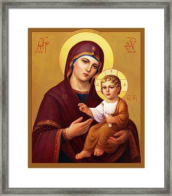 Framed Print featuring the painting Our Lady Of The Way - Virgin Hodegetria by Svitozar Nenyuk