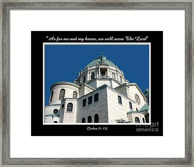 Our Lady Of Victory Basilica With Bible Quote Framed Print by Rose Santuci-Sofranko