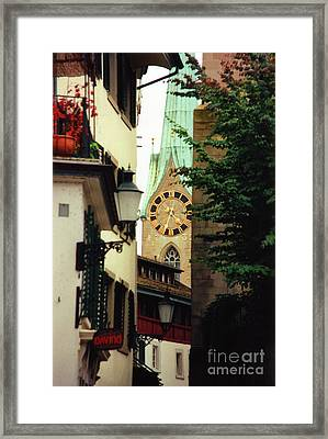 Our Ladys Minster Church In Zurich Switzerland Framed Print by Susanne Van Hulst