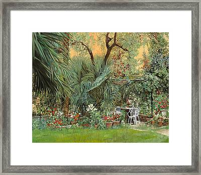 Our Little Garden Framed Print by Guido Borelli
