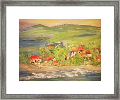 Our Seaside Village Framed Print