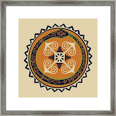 Ouroboros With Devine Fire Wheel Framed Print