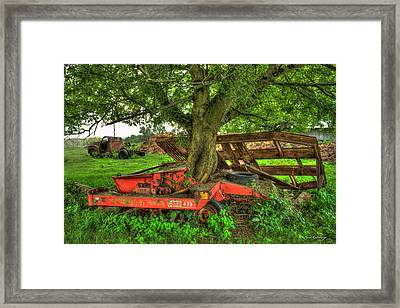 Out At Last Case Ih 475 Hay Binder Framed Print by Reid Callaway