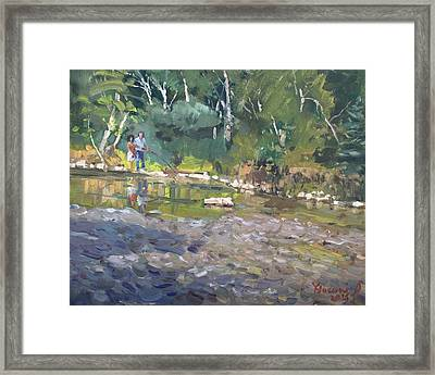 Out Fishing With Viola  Framed Print