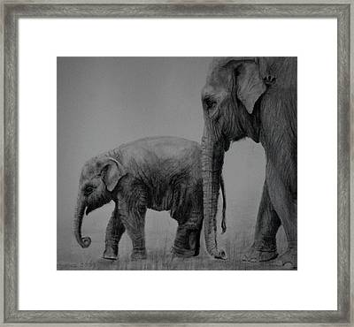 Framed Print featuring the drawing Out For A Stroll by Lynn Hughes