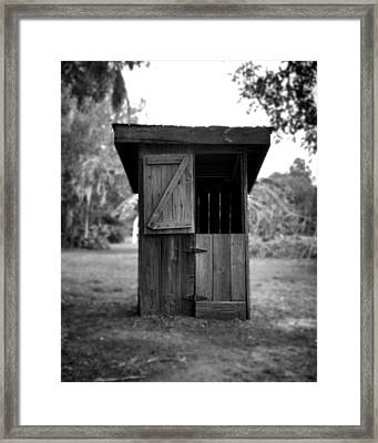 Out House In Black And White Framed Print