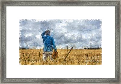 Out In The Fields Framed Print by Edward Fielding