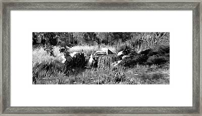 Out Of Bounds On The 18th Bw Framed Print by Barbara Snyder