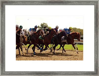 Out Of The Starting Gate Framed Print by James Kirkikis