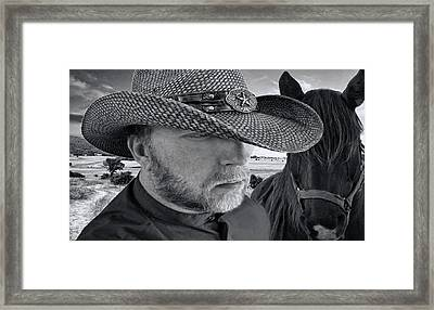 Out Riding Fences Framed Print by Pat Cook