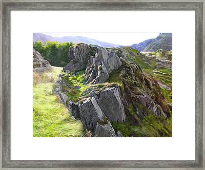 Framed Print featuring the painting Outcrop In Snowdonia by Harry Robertson