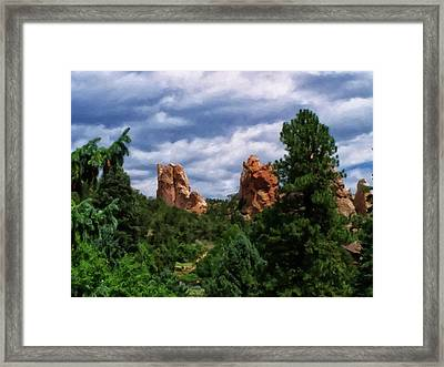 Framed Print featuring the digital art outcroppings in Colorado Springs by Chris Flees