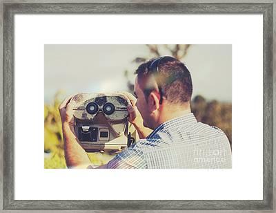 Outdoor Adventure Man Holding Mountain Telescope Framed Print