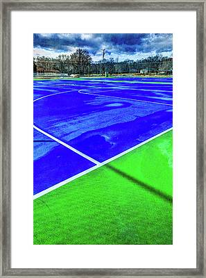 Outdoor Basketball Court 1 In Blue And Green Framed Print