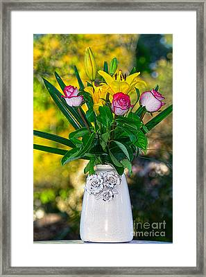 Outdoor Bouquet On Golden Bokeh By Kaye Menner Framed Print by Kaye Menner