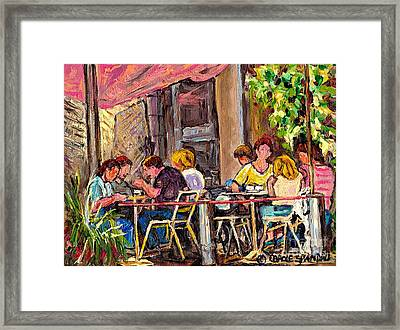 Outdoor Cafe Paintings Paris Style Sidewalk Terrace Rue St Denis Original Bistro Art Carole Spandau  Framed Print by Carole Spandau
