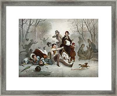 Outdoor Ice Skating In The 19th Framed Print by Vintage Design Pics