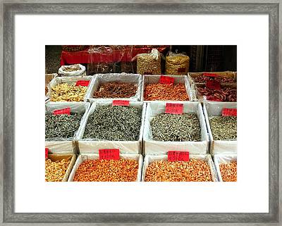 Outdoor Market For Dried Seafood Framed Print