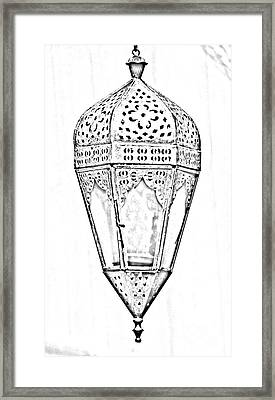 Outdoor Patina Copper Red Hanging Antiqued Indian Lantern Lamp Black And White Line Art Digital Art Framed Print