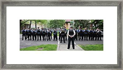 Outdoor Police Roll Call Framed Print by Robert Frank Gabriel