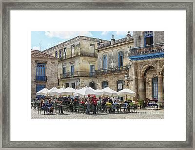 Outdoor Restaurant In Cuba Framed Print by Patricia Hofmeester
