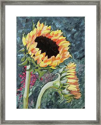 Outdoor Sunflowers Framed Print