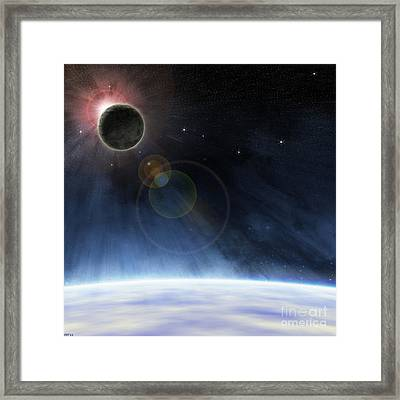 Framed Print featuring the digital art Outer Atmosphere Of Planet Earth by Phil Perkins