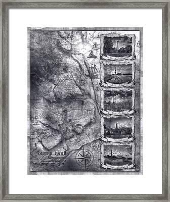 Outer Banks Lighthouse Map 1 Framed Print