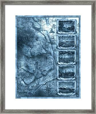 Outer Banks Lightouse Map 2 Framed Print