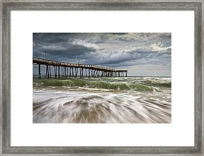 Outer Banks Nc Avon Pier Cape Hatteras - Fortitude Framed Print by Dave Allen