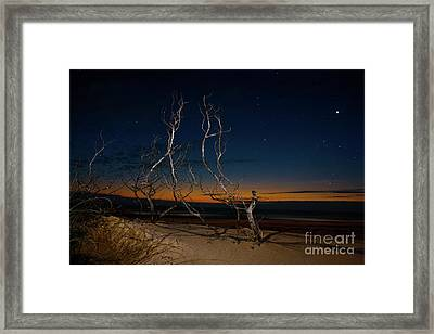 Outer Banks Sunrise With Venus And Scorpio Framed Print by Dan Carmichael