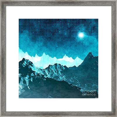 Framed Print featuring the digital art Outer Space Mountains by Phil Perkins