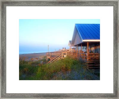 Framed Print featuring the photograph Outerbanks Sunrise At The Beach by Sandi OReilly