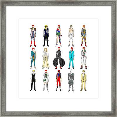 Outfits Of Bowie Framed Print by Notsniw Art